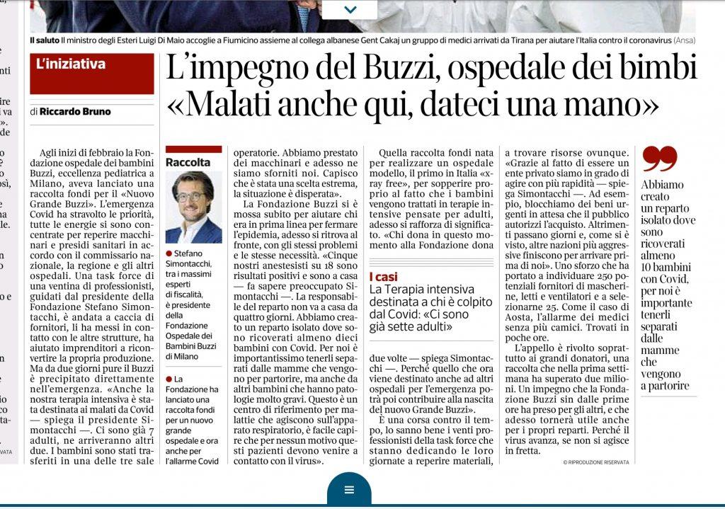 Corriere della Sera article on the Buzzi emergency fundraiser